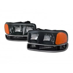 Black Housing Headlamps 1999-2006 GMC Sierra Combo 4pc W Parking Lights