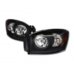 Diamond Black Clear 2006-2008 Dodge Ram 1500/2500/3500 Headlamps