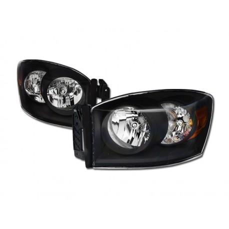 Diamond Black Clear 2006-2008 Dodge Ram 1500/2500/3500 Headlamps