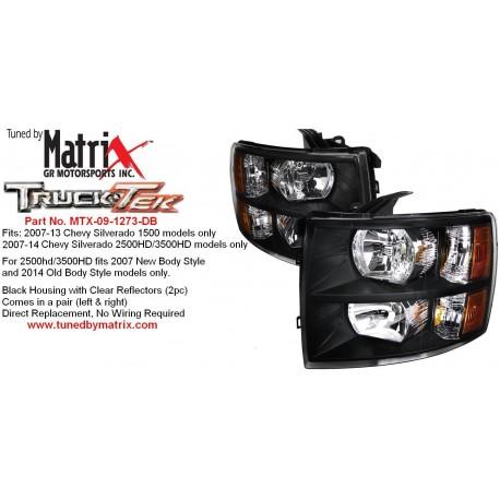 Diamond Black Amber 2007-2013 Chevy Silverado Headlamps 1500/2500