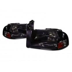 1pc Headlamps Smoke Diamond 1997 - 2004  Dodge Dakota /Durango