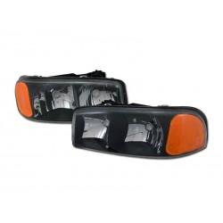 Diamond Black /Clear 1999 - 2006 GMC Yukon Sierra Headlamps