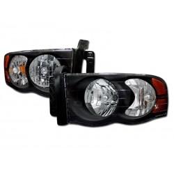 Black Housing Amber Headlamps 2002 - 2005 Dodge Ram 1500 /2500 Set