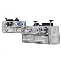 Angel Eye Halo Chrome 1994-98 Chevy C-10 Tahoe Suburban 8 PC Combo Headlamps W Parking Lights Corner Lights
