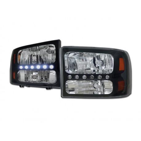 1pc Black/1999-2004 Ford F250/350/450 Super Duty L.E.D Headlamps