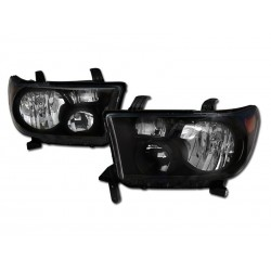 Diamond Black Amber Housing 2007-2013 Toyota Tundra Headlamps