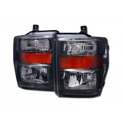 Black Housing w Amber Headlamps 2008 - 2010 Ford F250 /350 /450 Super Duty