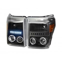 Led Angel Eye Black W Amber Projector 2011-2015 Ford F250 /350 /450 Super Duty Headlamps Pair