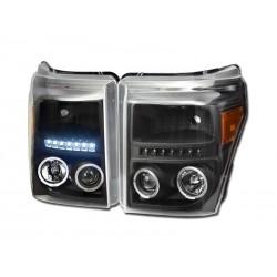 Led Angel Eye Black W Amber Projector 2011-2015 Ford F250 /350 /450 Super Duty Headlamps Pair
