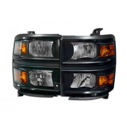 Black Housing Headlights 2014-2016 Chevy Silverado 1500 / 2500 Set