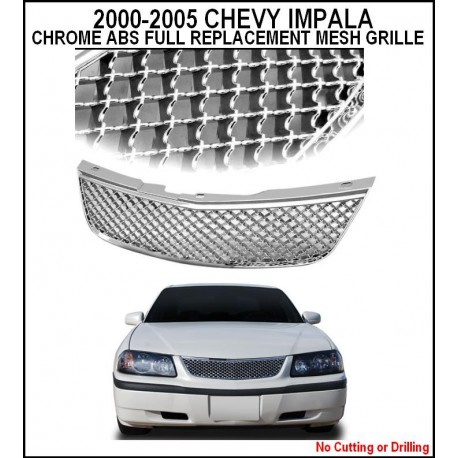 Abs Chrome Mesh 2000 2005 Chevy Impala Replacement Grille Shell Jpg