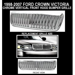 Chrome Vertical Grille 1998 - 2007 Crown Victoria Replacement Shell ABS