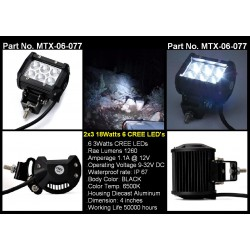 2X3 Cree Lights 6 Led Work 3W ea Light 18 Watts 1260 Lumens