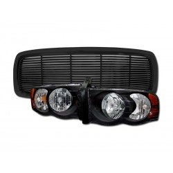 Dodge Ram 2002-2005 Black Horizontal Grille combo with Headlights Black Amber Housing