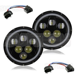 "Universal 7"" Round Halo White Amber Led Headlights High Low 30 Watts 45 Watts"