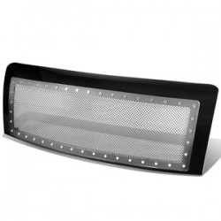 Ford F 150 2009-2014 Black Stainless mesh grille with rivets  Style Glossy Black Grille Replacement