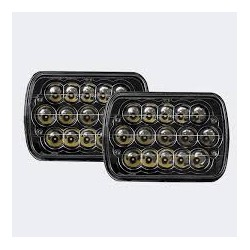 7x6 Headlights Black Housing Full Face Leds Hi Low Beam 20 Watts 40 watts 1600  Lumens each