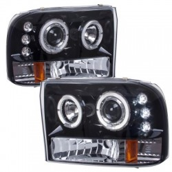 Angel Eye Projector Black  /Clear 1999-2004 Ford F 250 350 Super Duty Headlights