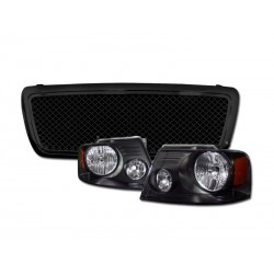 2004-2008 Ford F 150 Glossy Black  Style Mesh Grille Replacement with black housing headlights