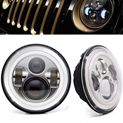 "7"" Round Cree Led chrome Housing Headlights W High Low Beam Jeep JK 2007-2014 /Toyota FJ Cruiser/Hummer H2"