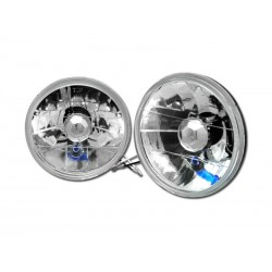 Universal 7 Inch Round Clear Conversion Headlamps Pair H4 Replacement