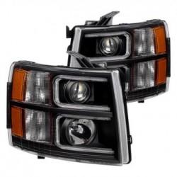 2007-2013 Chevy Silverado 1500 2500 Black C Bar Halo Projectors