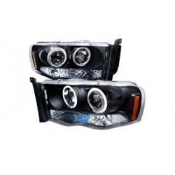 2002-2005 dodge ram 1500 2500 angel eye Black Projectors Headlights
