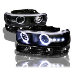 1999-2002 Chevy Silverado Black Halo Combo Projectors Headlights