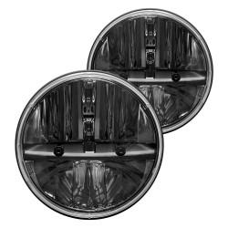 "Led 7"" Round Headlights Black Housing 20 45 Watts each 6000K White 3700 Lumens Pair"