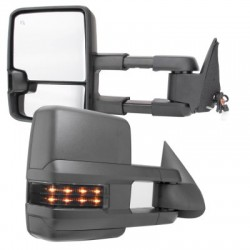2015 Style Chevy Silverado 2014-2018 power heated towing mirrors with leds smoke turn signals and white reverse lights