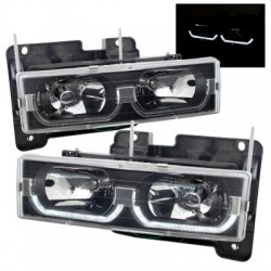 1988-1998 Chevy c-10 Tahoe Gmc Yukon u bar drl black headlights