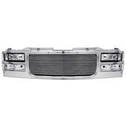 1994-1998 Gmc c-10 yukon suburban  combo headlights grille with 4mm billet aliminum grile