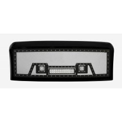 "2008-2010 FORD F-250 F-350 F-450 SUPER DUTY Grille w/ 12"" LED Lights and 2 2"" LED w/ Rivets"