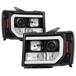 2007-2013 Gmc Sierra 1500/2500 C bar Black housing Projector Headlights