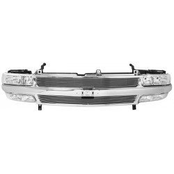 1999-2002 Chevy Silverado combo grille chrome  grille replacement with 4mm billet grille replacment shell