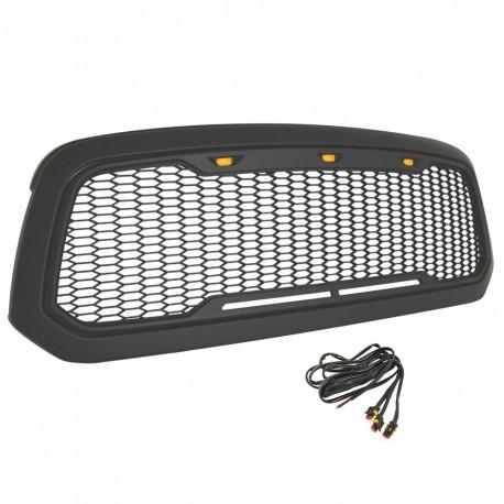 2013-2017 Dodge Ram 1500 matt black mesh with led amber marker lights