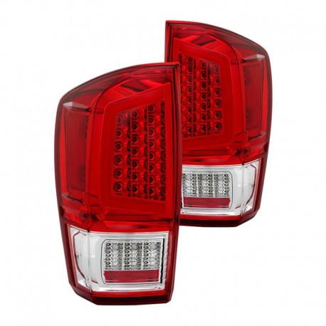 Led taillights 2016-2018 toyota tacoma red with c bar halo
