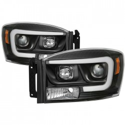 OPTIC LED HALO 2006-2008 DODGE RAM 1500/2500/3500 BLACK HEADLIGHT PROJECTORS