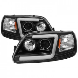 OPTIC LED HALO 1997-2003 FORD F150 EXPEDITION BLACK HEADLIGHT PROJECTORS