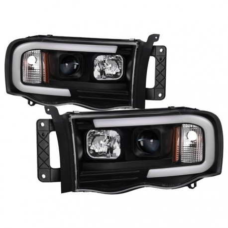 Optic Led Halo 2002 2005 Dodge Ram 1500 2500 3500 Black Headlight Projectors