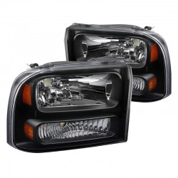 1999-2004 FORD F250/350 SUPER DUTY BLACK HOUSING HEADLIGHTS