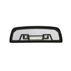 "2009-2012 DODGE RAM 1500 Grille w/ 12"" LED Light Bar and 2 2"" LED Lights w/ Rivets"