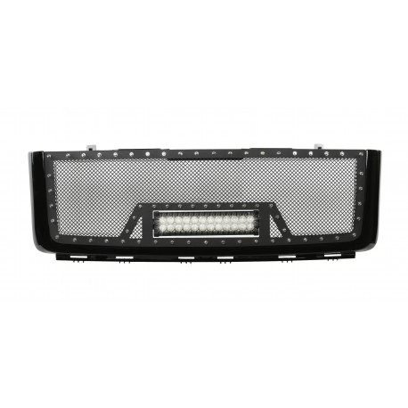 "2007-2013 GMC SIERRA 1500 Grille w/ 12"" LED Light Bar /w Rivets"