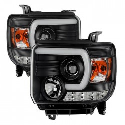 2014-2015 GMC SIERRA 1500/2500 HEADLIGHT C BAR PROJECTORS BLACK CLEAR