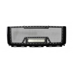 "2007-2010 GMC SIERRA 2500 / 3500 HD Grille w/ 1 12"" LED Light Bar w/ Rivets"