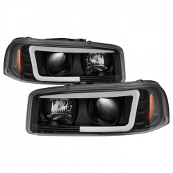 1999-2006 GMC SIERRA C BAR HALO PROJECTORS BLACK HOUSING