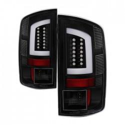 2006-2008 DODGE RAM 1500/2500 C BAR HALO LED TAILLIGHTS BLACK HOUSING