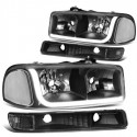 1999-2006 GMC SIERRA/YUKON C BAR HALO BLACK HOUSING CLEAR REFLECTOR