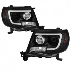 2005-2011 Toyota Tacoma C bar halo projectors black housing