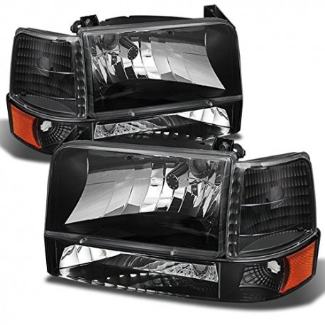 ford f150 1992-1997 f250 bronco headlights combo black housing